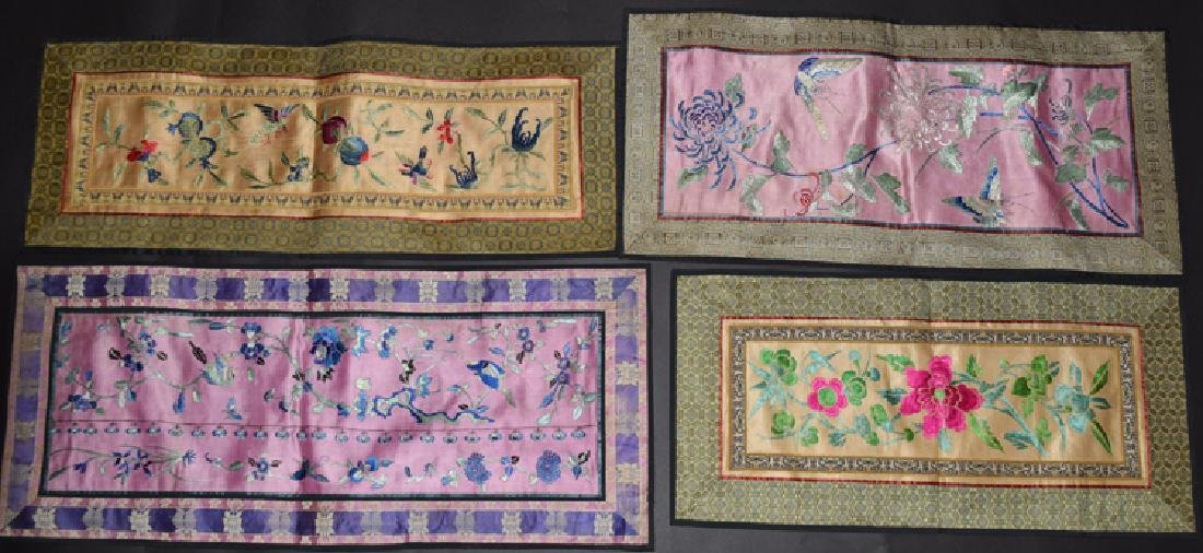 Four Chinese Qing embroidery cover