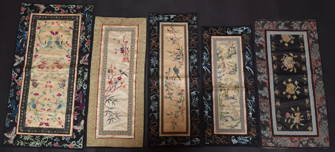 Five Chinese Qing embroidery cover