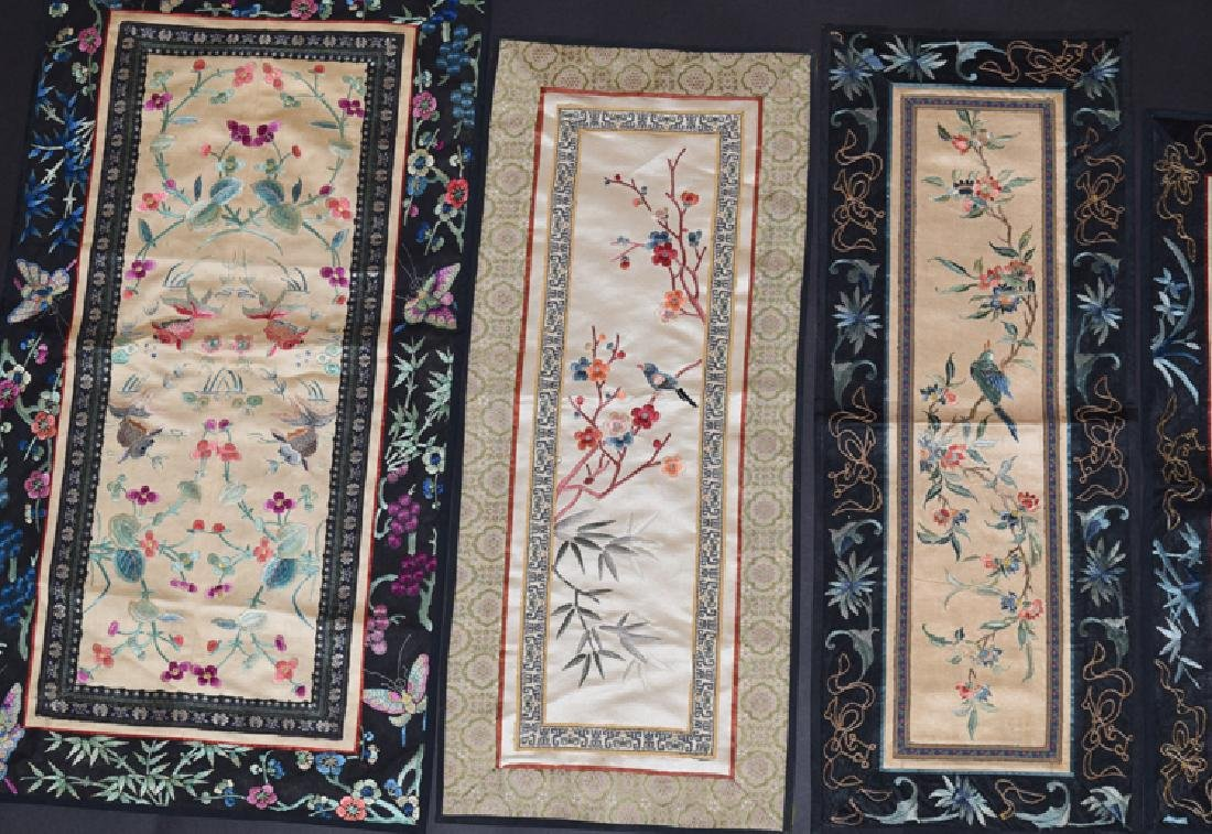 Five Chinese Qing embroidery cover - 4