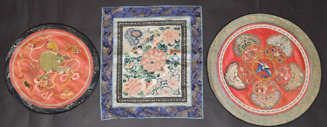 Three Chinese Qing embroidery cover