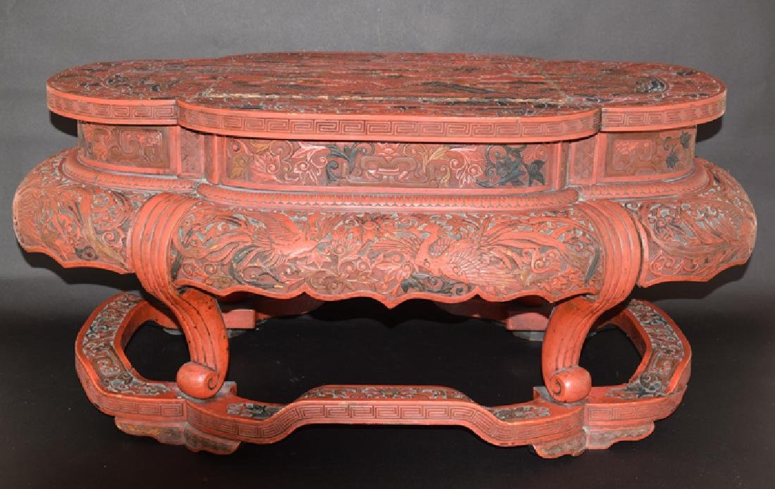 Chinese Ming cinnabar low table