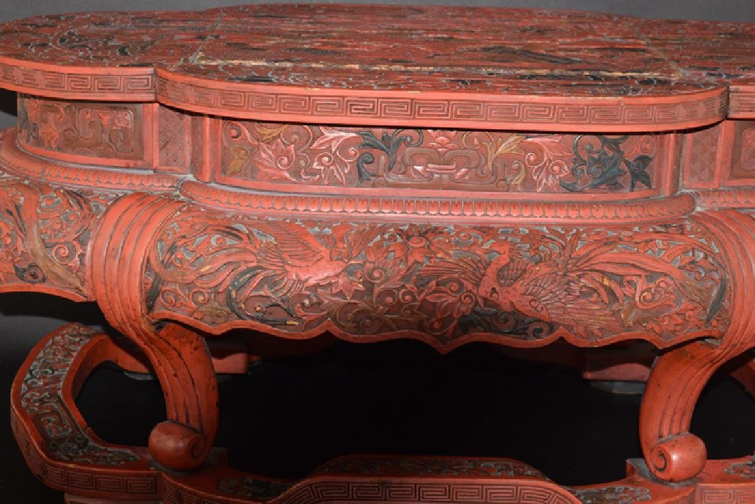 Chinese Ming cinnabar low table - 2
