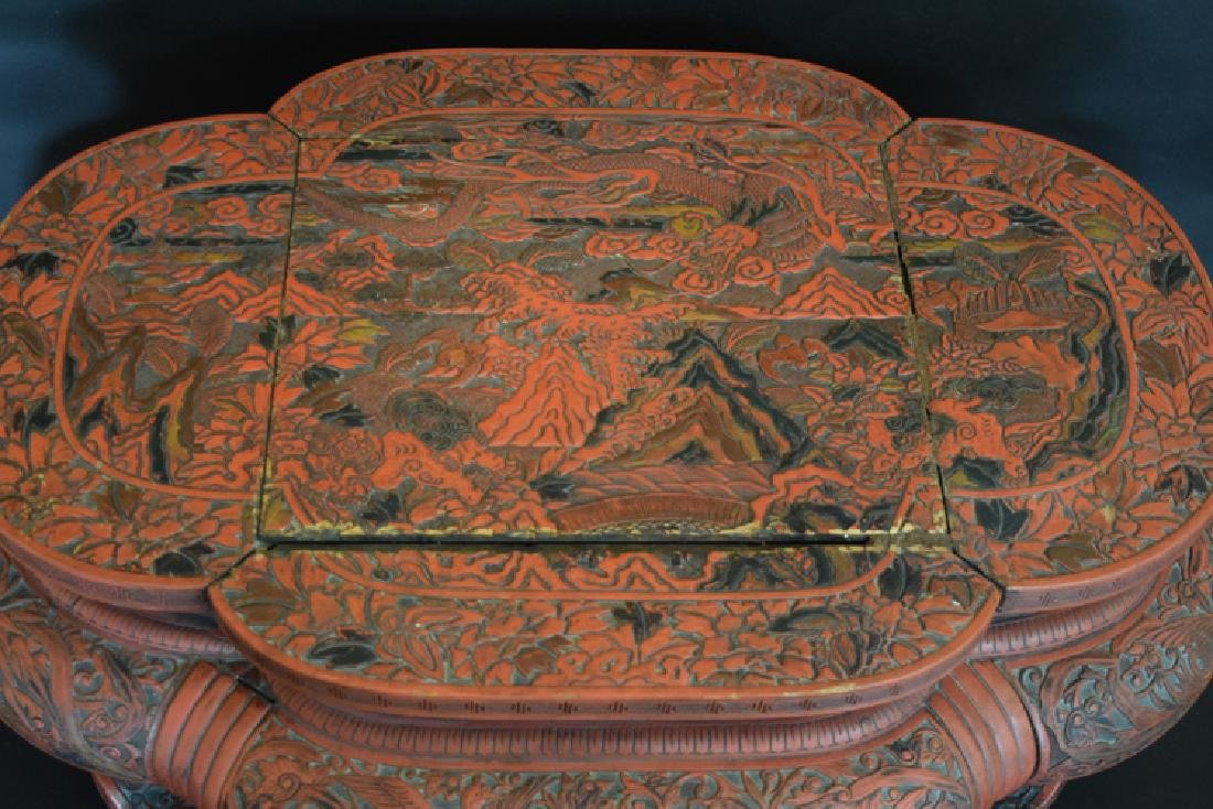 Chinese Ming cinnabar low table - 3