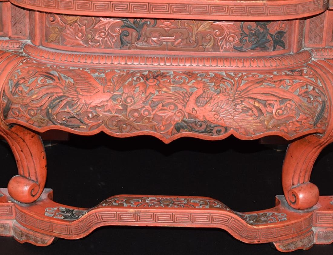 Chinese Ming cinnabar low table - 5