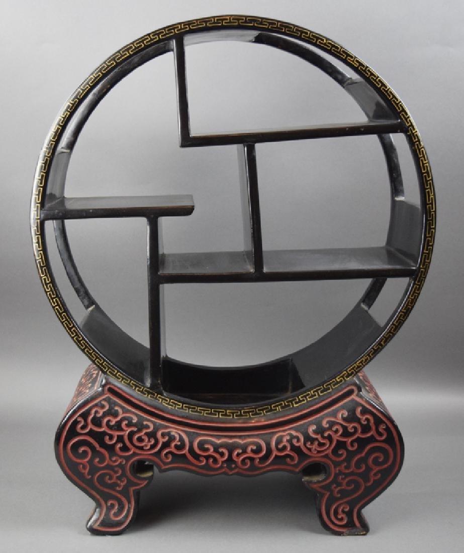 Chinese black cinnabar curio display shelf
