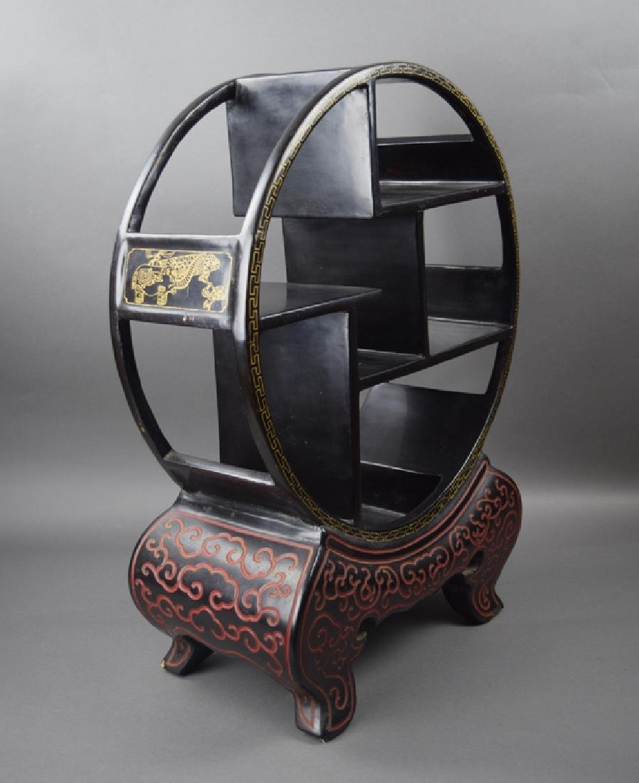 Chinese black cinnabar curio display shelf - 3