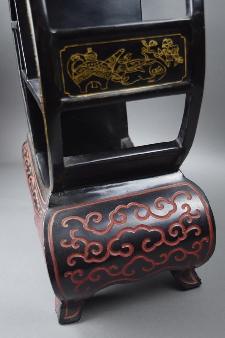 Chinese black cinnabar curio display shelf - 4