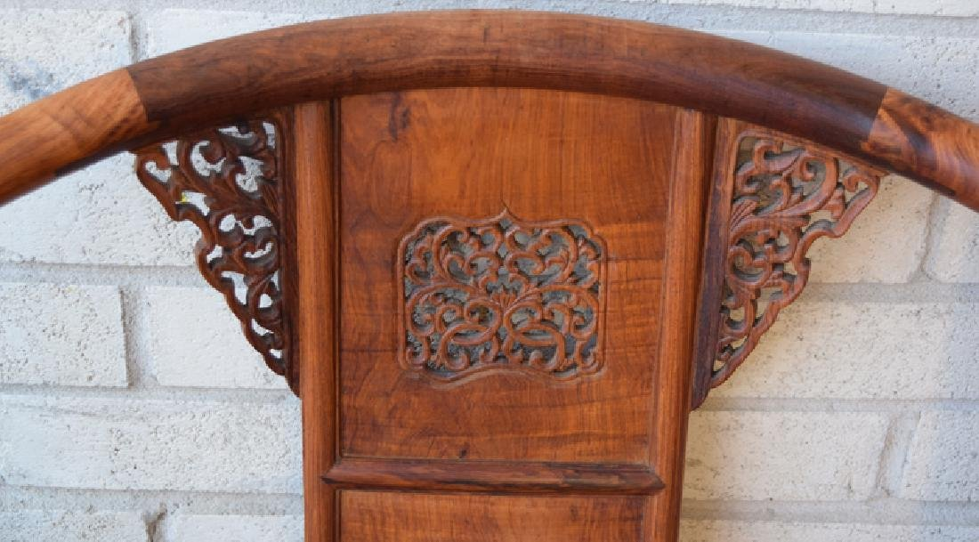 Pr. Chinese carved Huanghuali wood armchairs with a - 2
