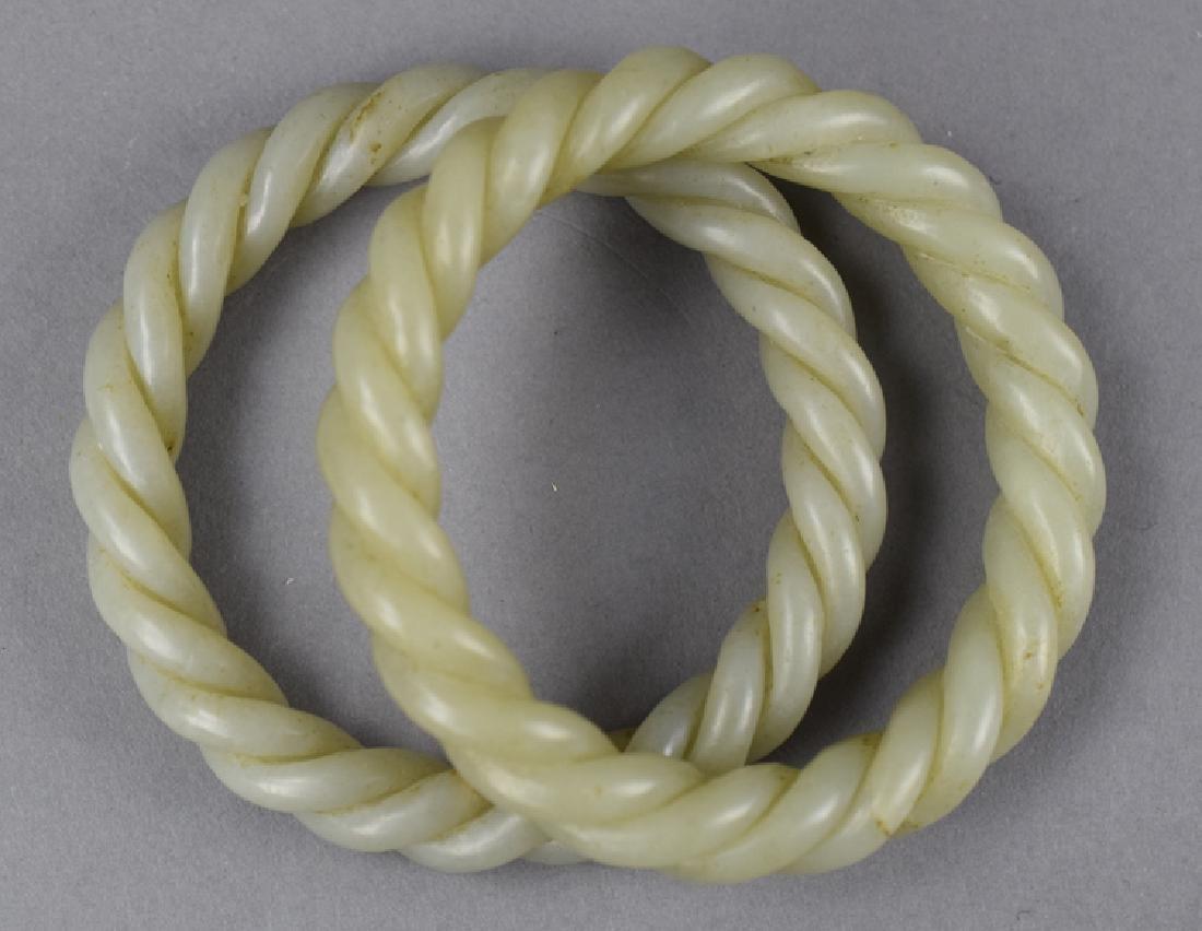 Pr. Chinese carved jade bracelets