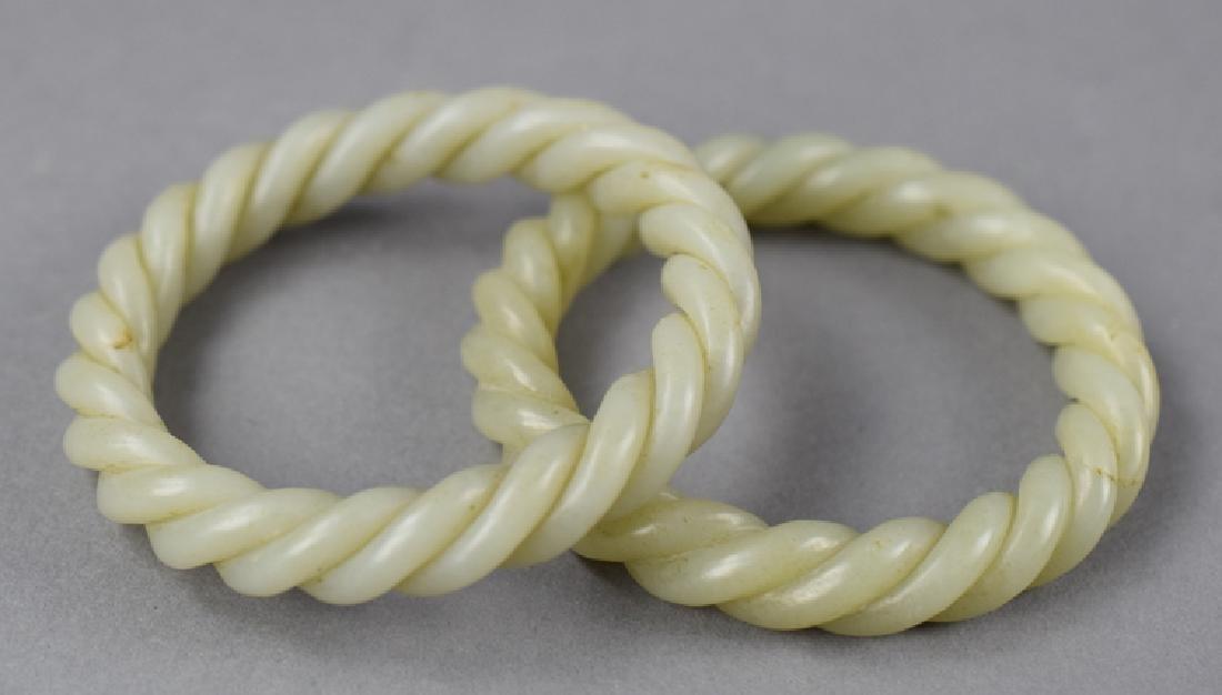 Pr. Chinese carved jade bracelets - 2