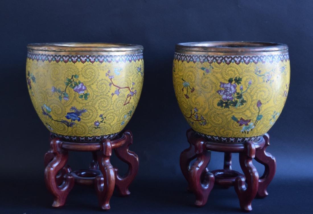 Pr. Chinese cloisonne fish bowls