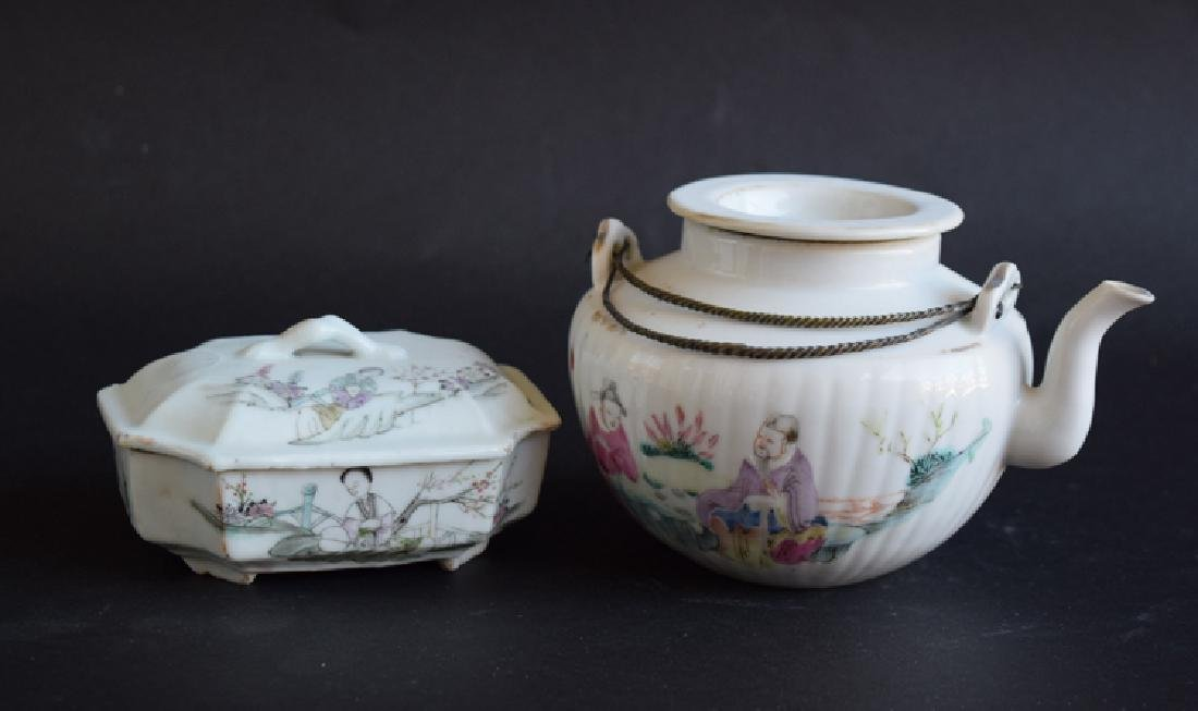 Two Chinese Qing porcelain tea set