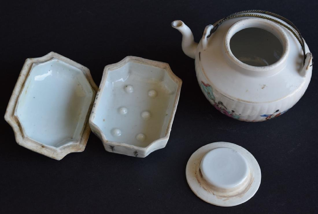 Two Chinese Qing porcelain tea set - 4
