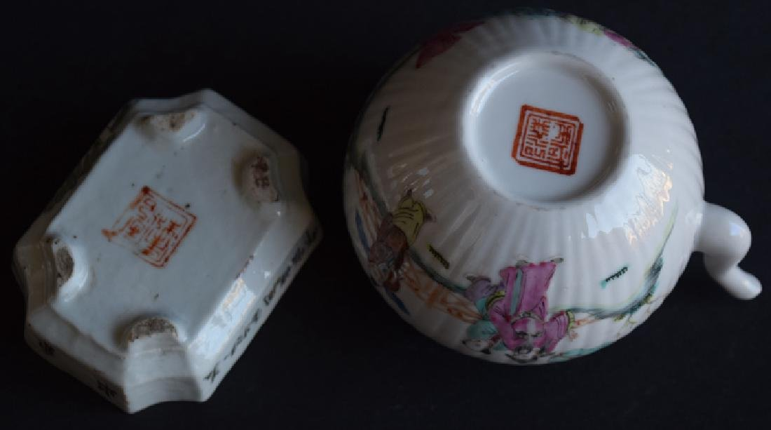Two Chinese Qing porcelain tea set - 5