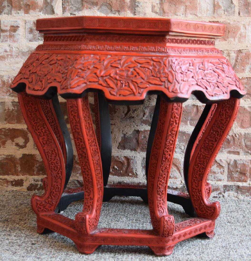 Chinese carved hexagonal cinnabar stand