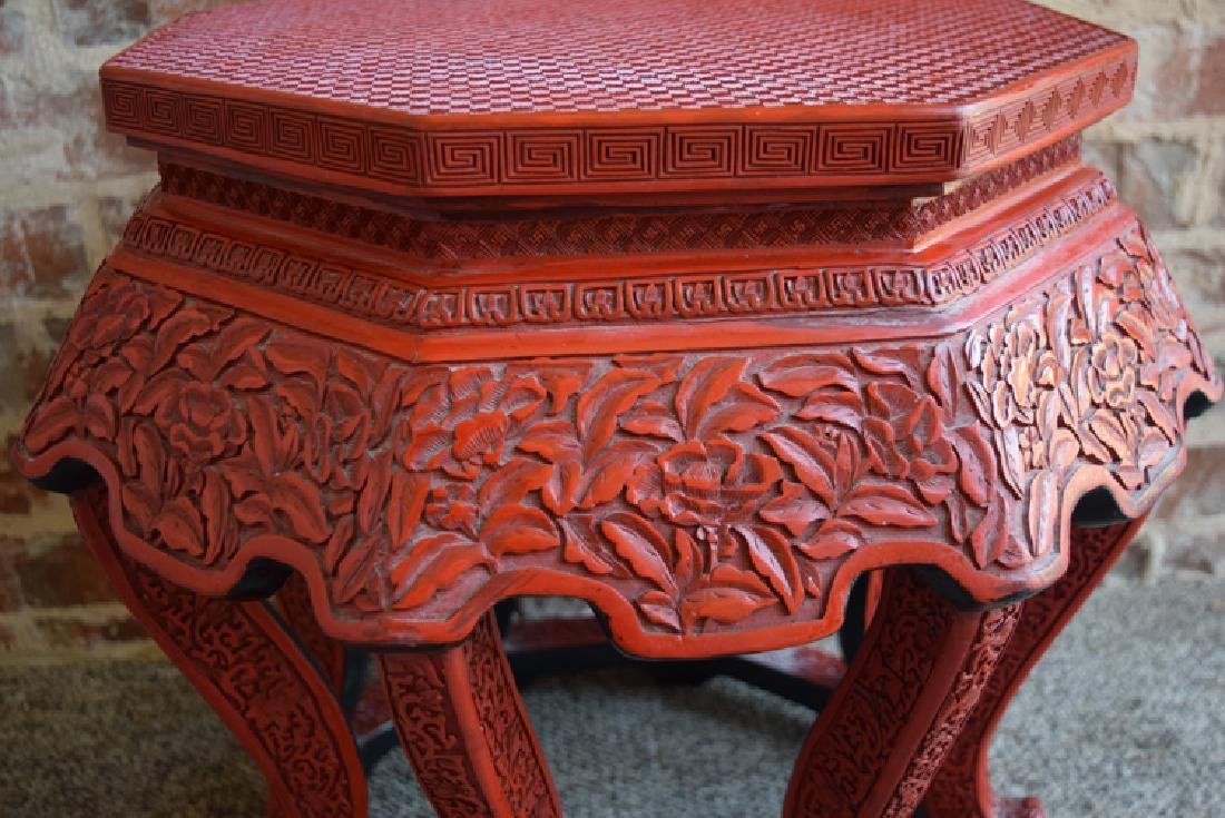 Chinese carved hexagonal cinnabar stand - 2