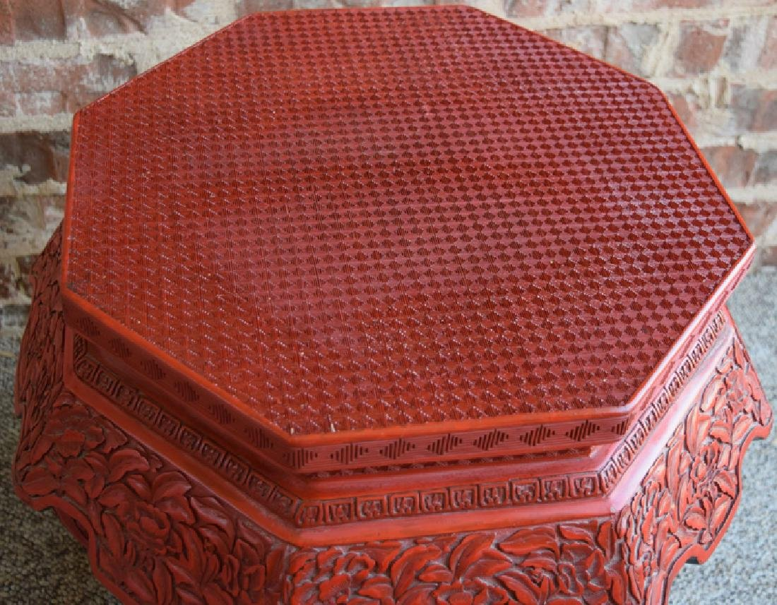 Chinese carved hexagonal cinnabar stand - 3
