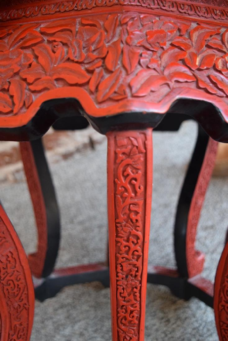 Chinese carved hexagonal cinnabar stand - 4