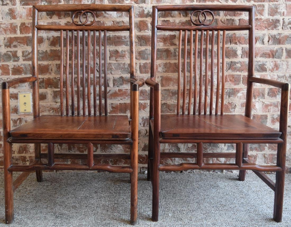 Pr. Chinese Republic Huanghuali wood comb back chairs