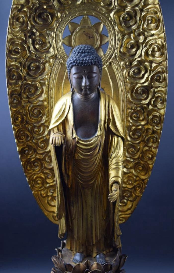 Large Japanese Edo period gilt lacquered wood Buddha - 2