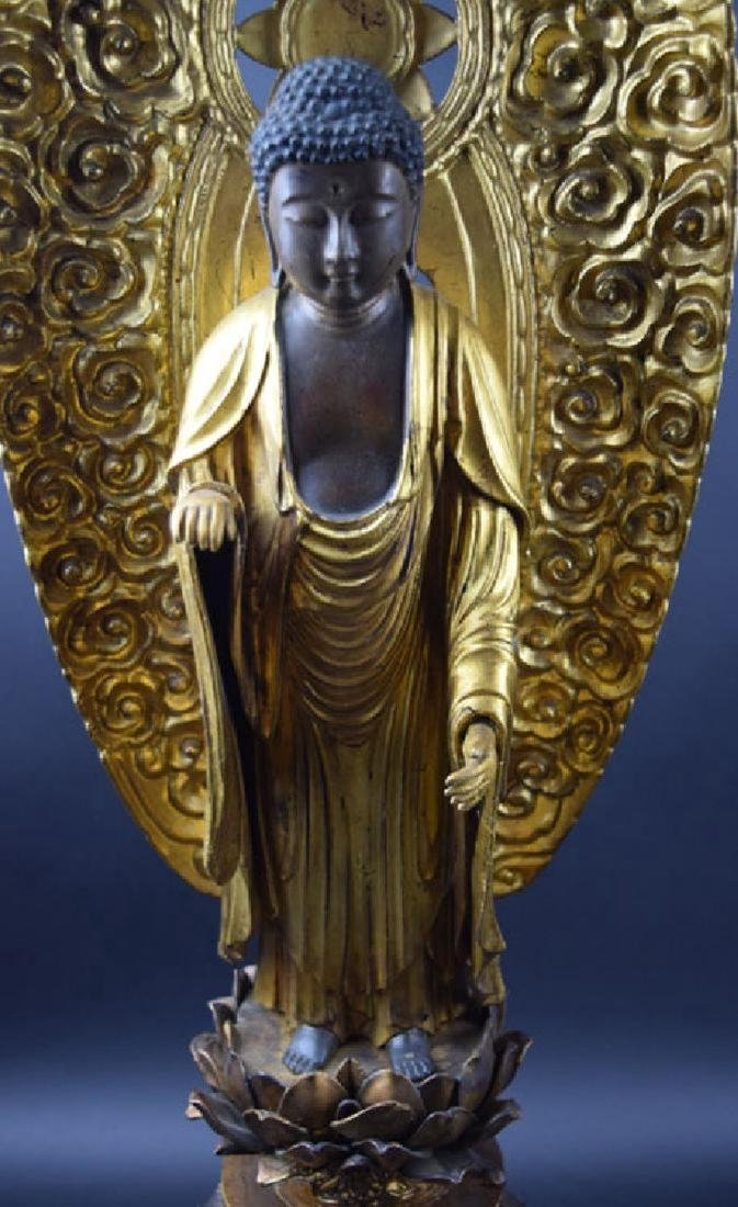 Large Japanese Edo period gilt lacquered wood Buddha - 3