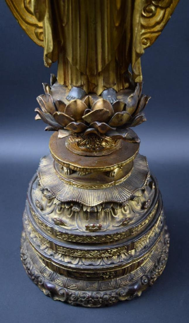 Large Japanese Edo period gilt lacquered wood Buddha - 4
