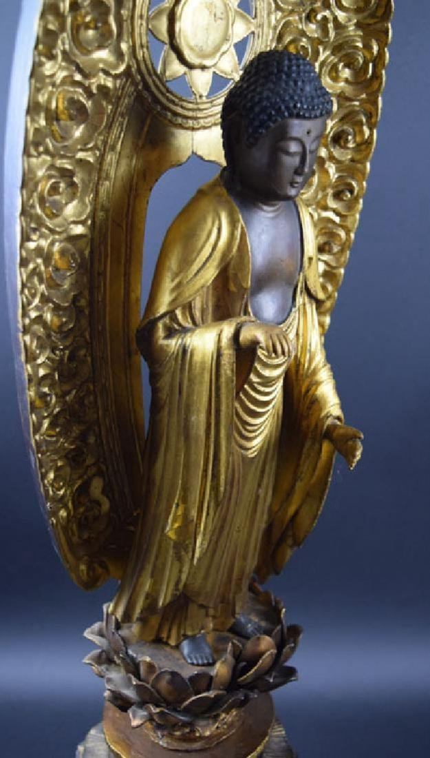 Large Japanese Edo period gilt lacquered wood Buddha - 5