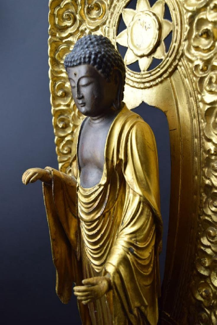 Large Japanese Edo period gilt lacquered wood Buddha - 6