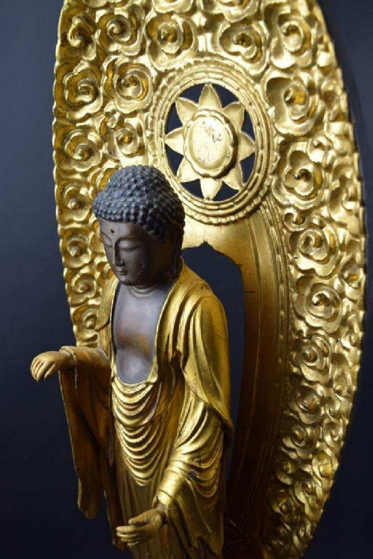 Large Japanese Edo period gilt lacquered wood Buddha - 7