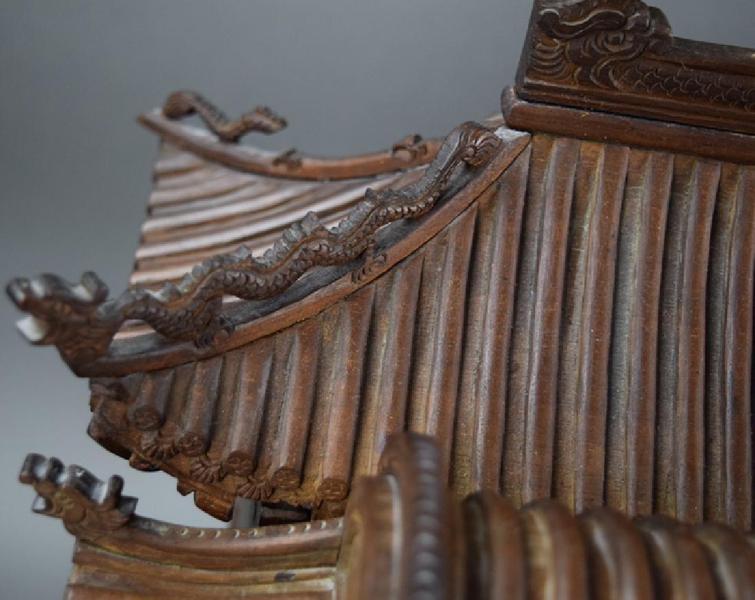 Chinese late Ming-early Qing carved Jinsi Nanmu - 6