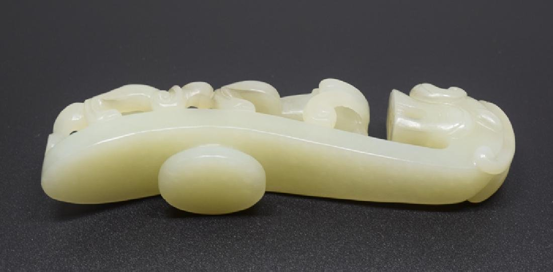 Chinese carved white jade dragon shape belt buckle - 2