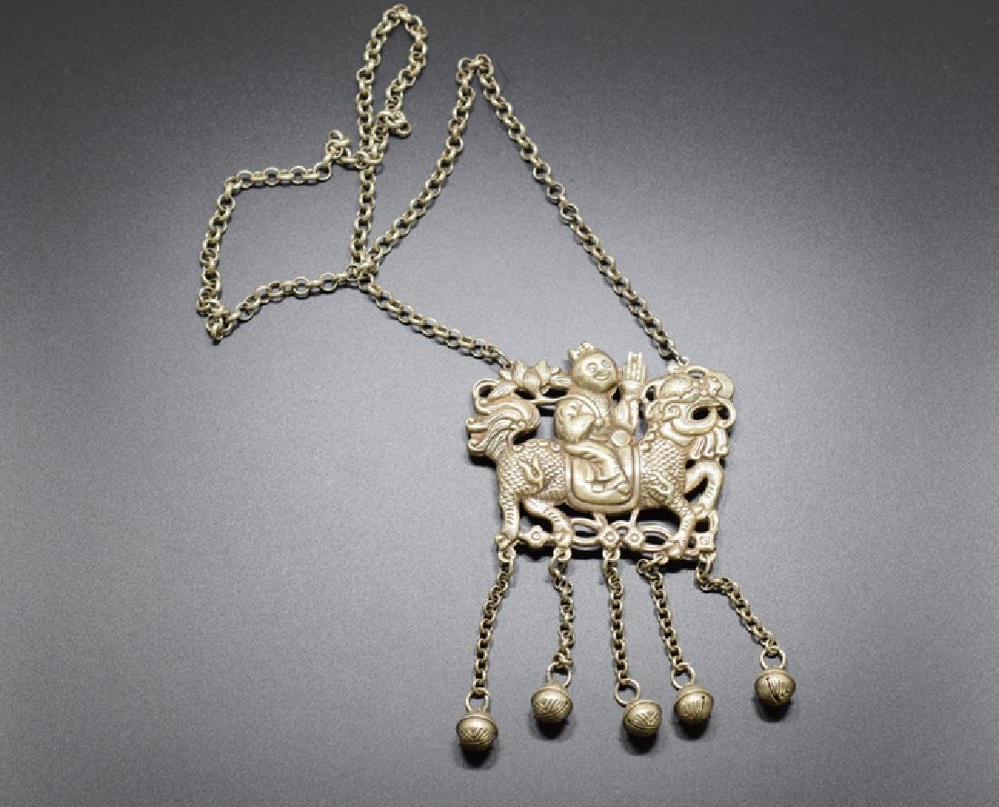 Chinese silver necklace and pendant