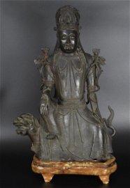 Rare Large Chinese Yuan-Ming Dynasty bronze Mañju?r?