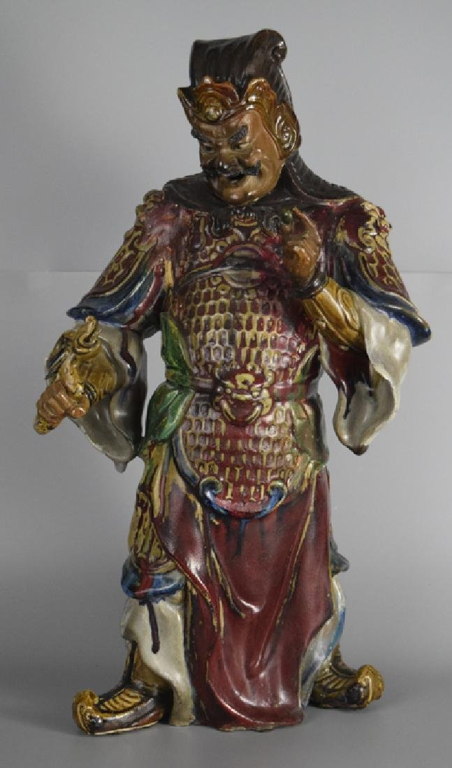 Chinese Shiwan ware pottery warrior
