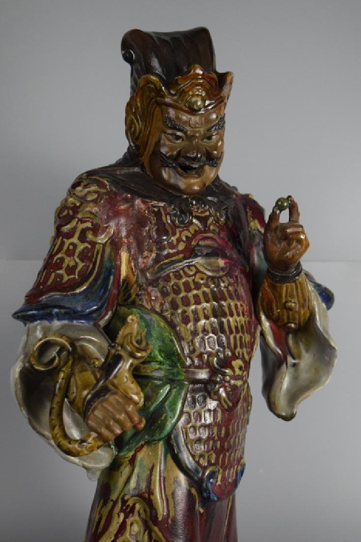 Chinese Shiwan ware pottery warrior - 4