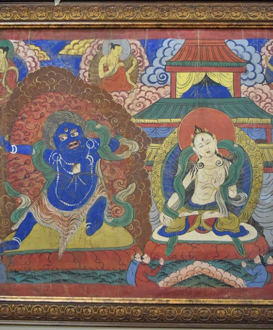 Large Chinese Tibetan Qing painted Thangka - 3