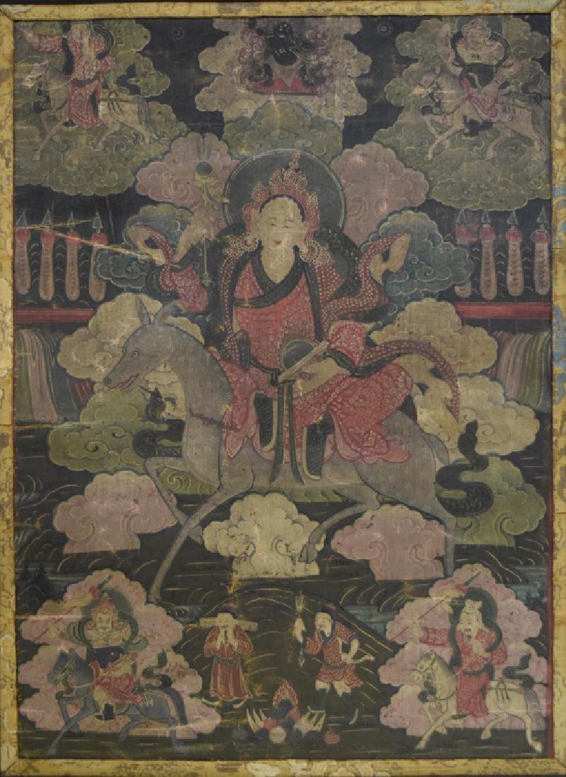 Chinese Tibetan Ming paint thangka - 2