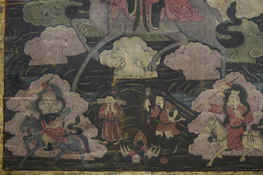 Chinese Tibetan Ming paint thangka - 4