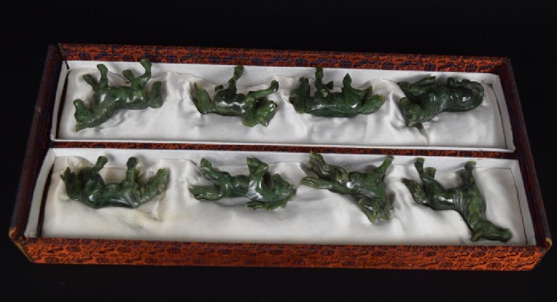 Set of eight Chinese carved spinach green jade horses - 2