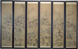 Set of six Chinese Qing watercolor framed painting
