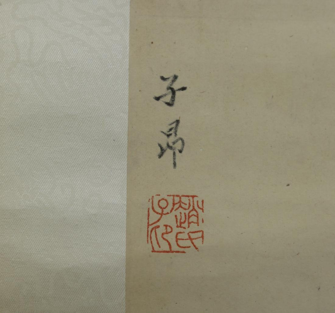 Chinese Qing watercolor painted scroll - 4