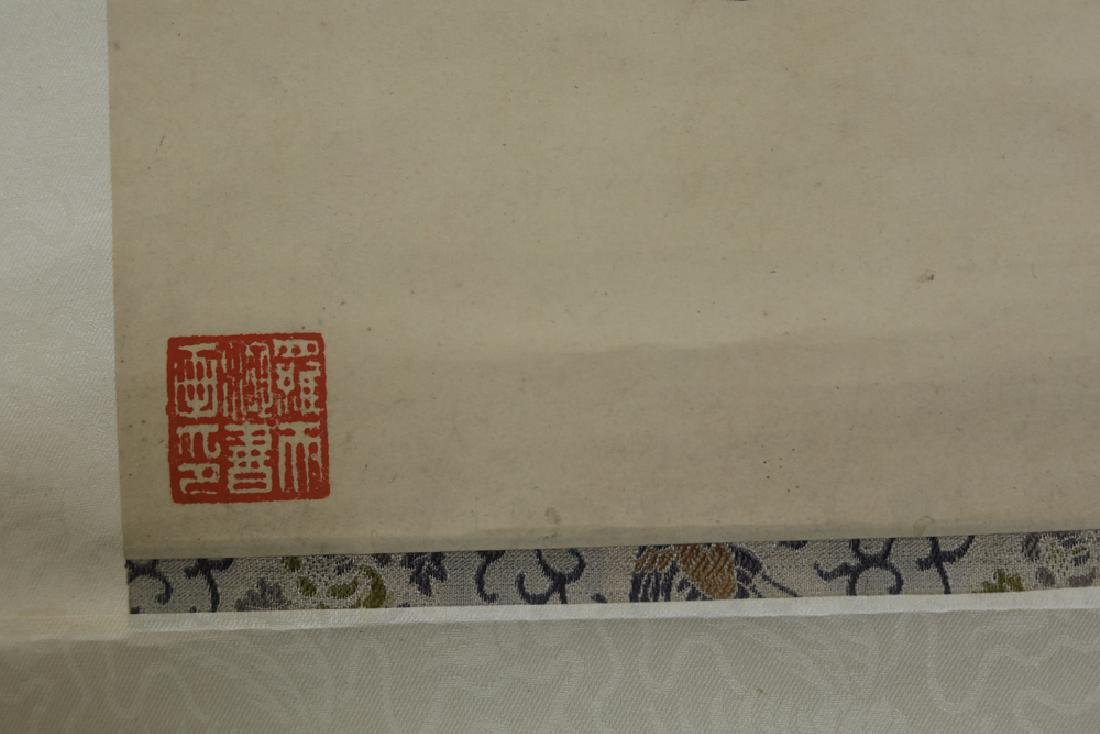 Chinese Qing watercolor painted scroll - 5