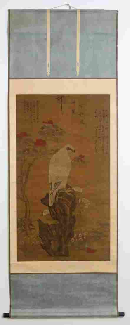 Chinese antique watercolor painted scroll on silk
