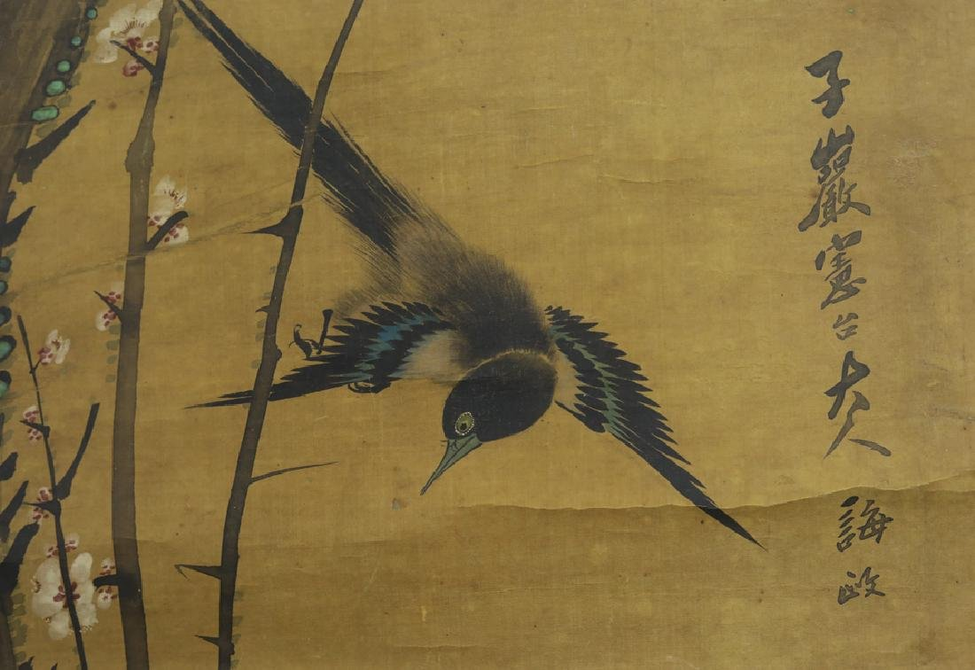 Chinese Qing watercolor painted on silk Scroll - 3