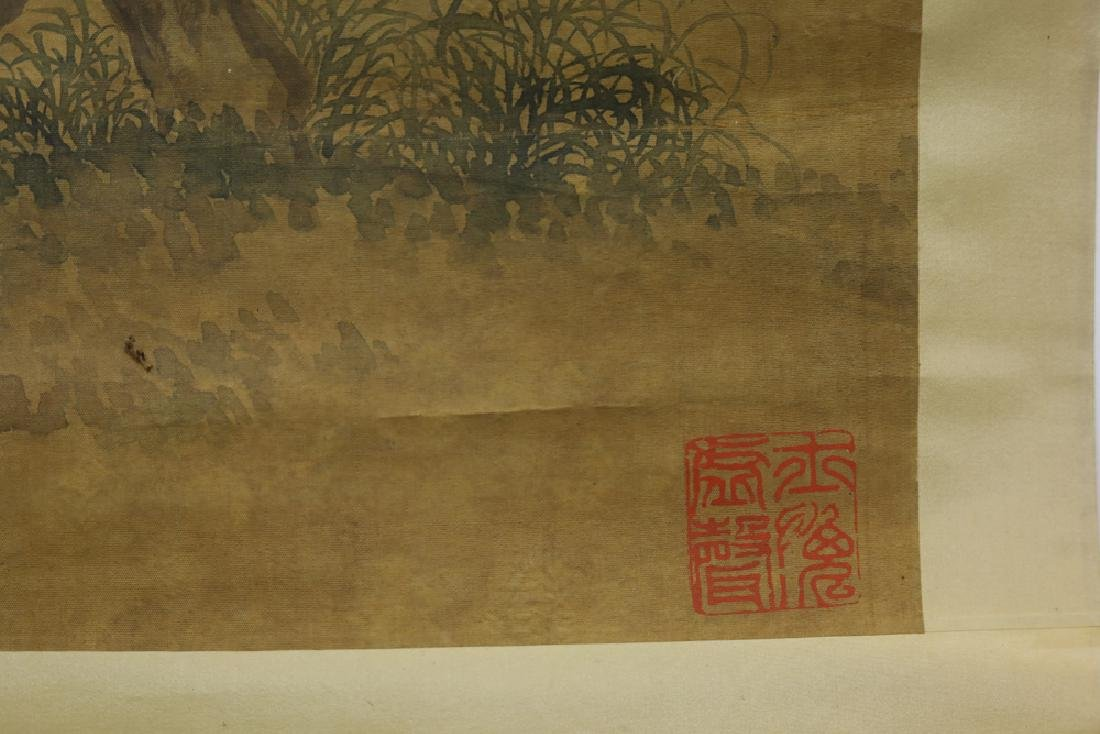 Chinese Qing watercolor painted on silk Scroll - 7