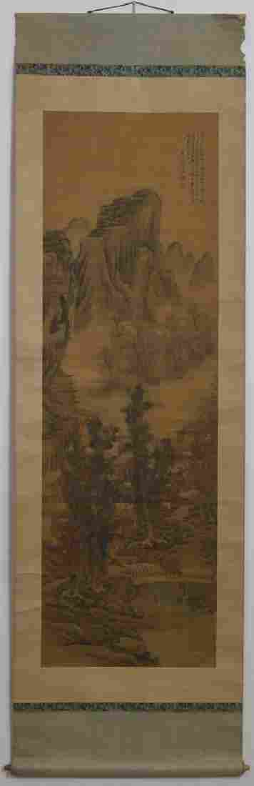 Chinese Qing watercolor painted on silk scroll