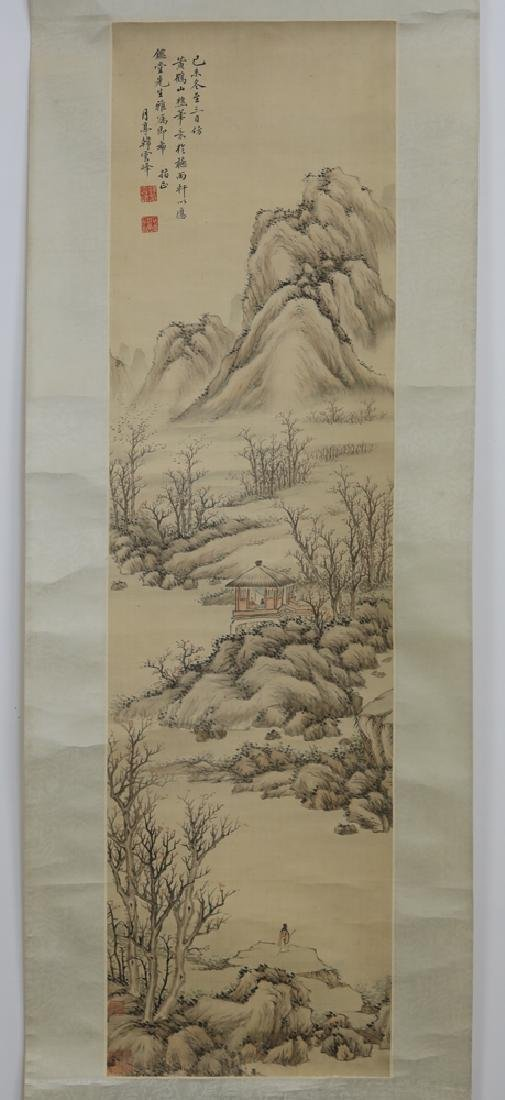Chinese Qing watercolor painted scroll on silk - 2
