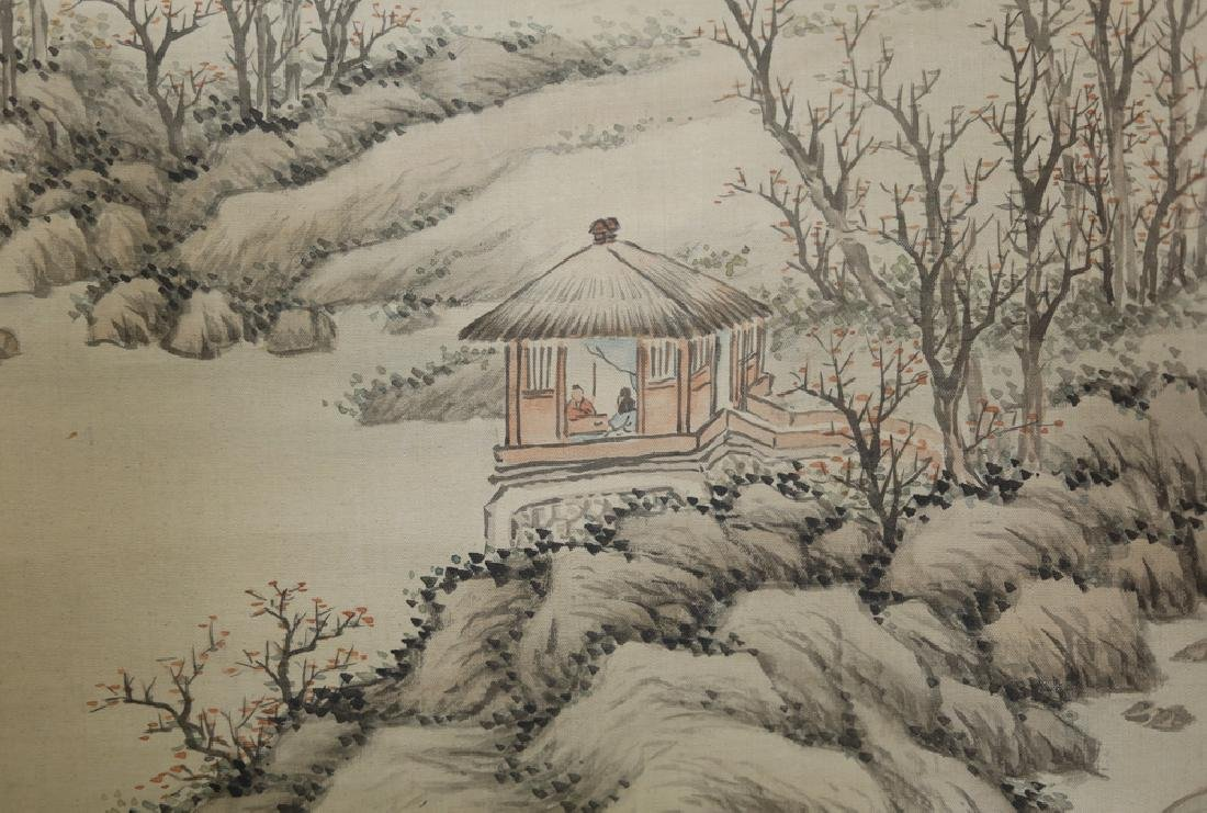 Chinese Qing watercolor painted scroll on silk - 4