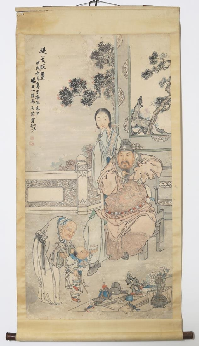 Chinese Republic watercolor painted scroll by Feng Run