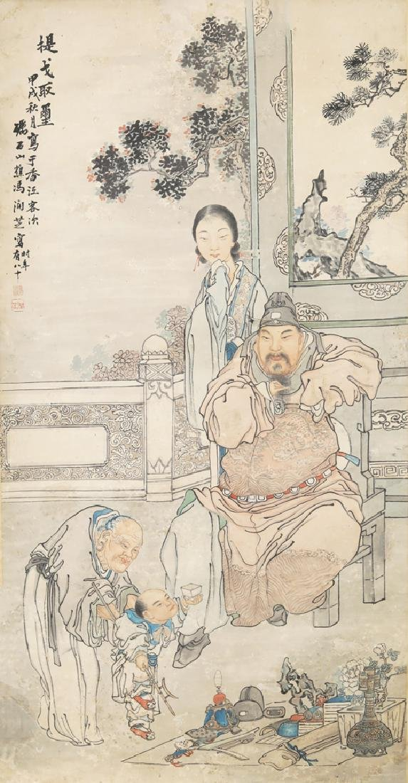 Chinese Republic watercolor painted scroll by Feng Run - 2
